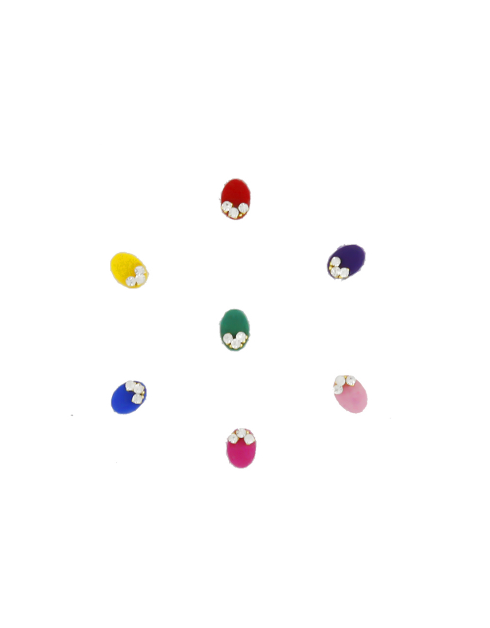 Oval Shape Multi Colour Studded With Stones Fancy Bindi