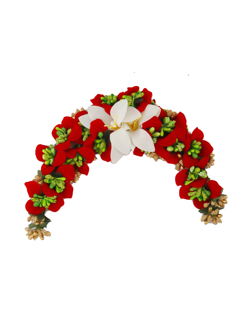 Red Colour Styled With Beads Fancy Hair Brooch For Women