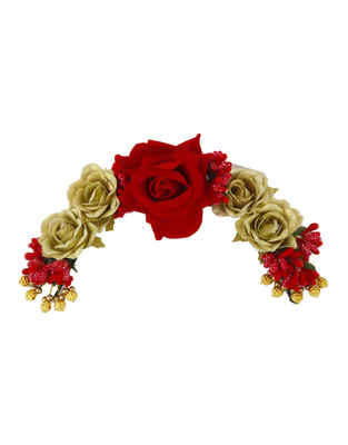 Fancy Red Colour Rose Styled Fancy Hair Brooch For Girls