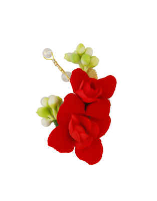 Simple Red Colour Styled With Beads Fancy Hair Brooch