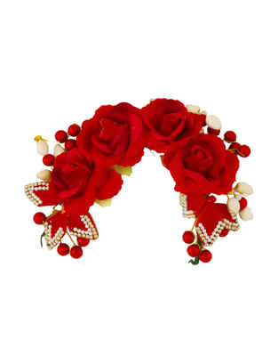 Red Colour Rose Floral Fancy Hair Jewellery For Girls