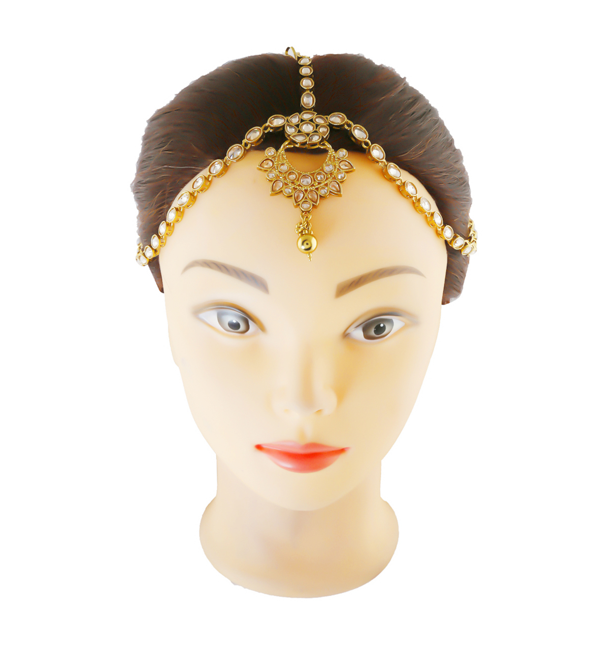 Simple Antique Gold Finish Studded With Stones Forehead Jewellery