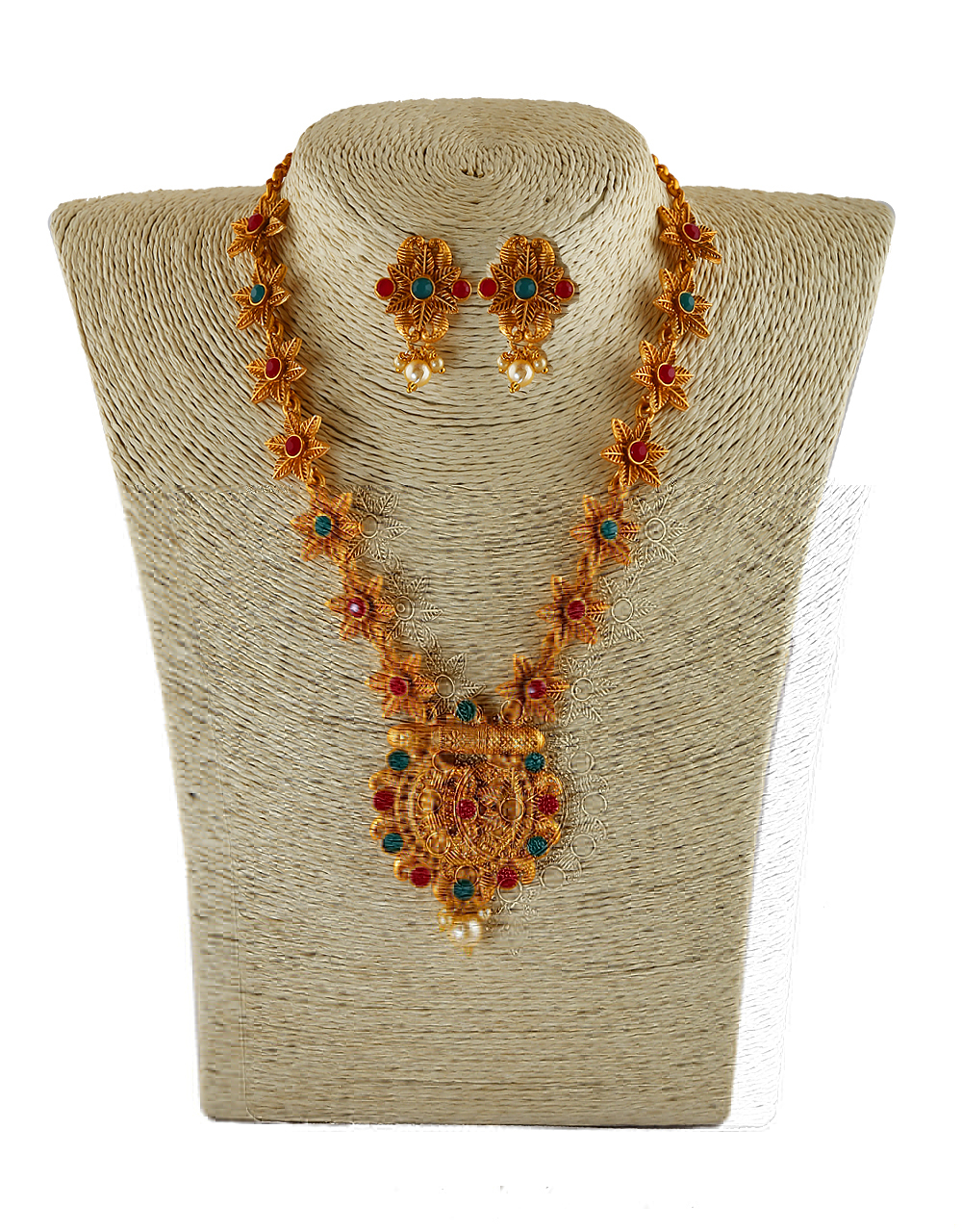 Multi Colour Matte Gold Finish Floral Design South Indian Jewellery