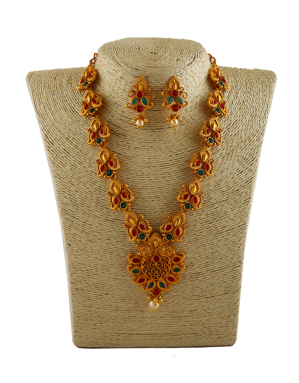 Multi Colour South Matte Finish Traditional Necklace Jewellery