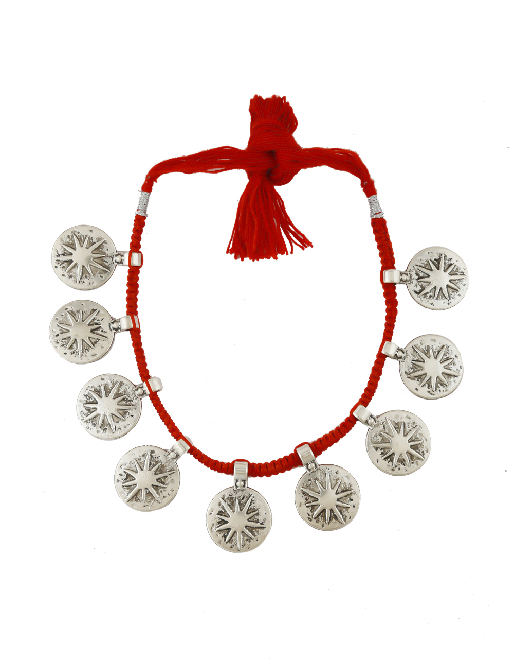 Red Colour Silver Oxidised Coin Necklace For Women