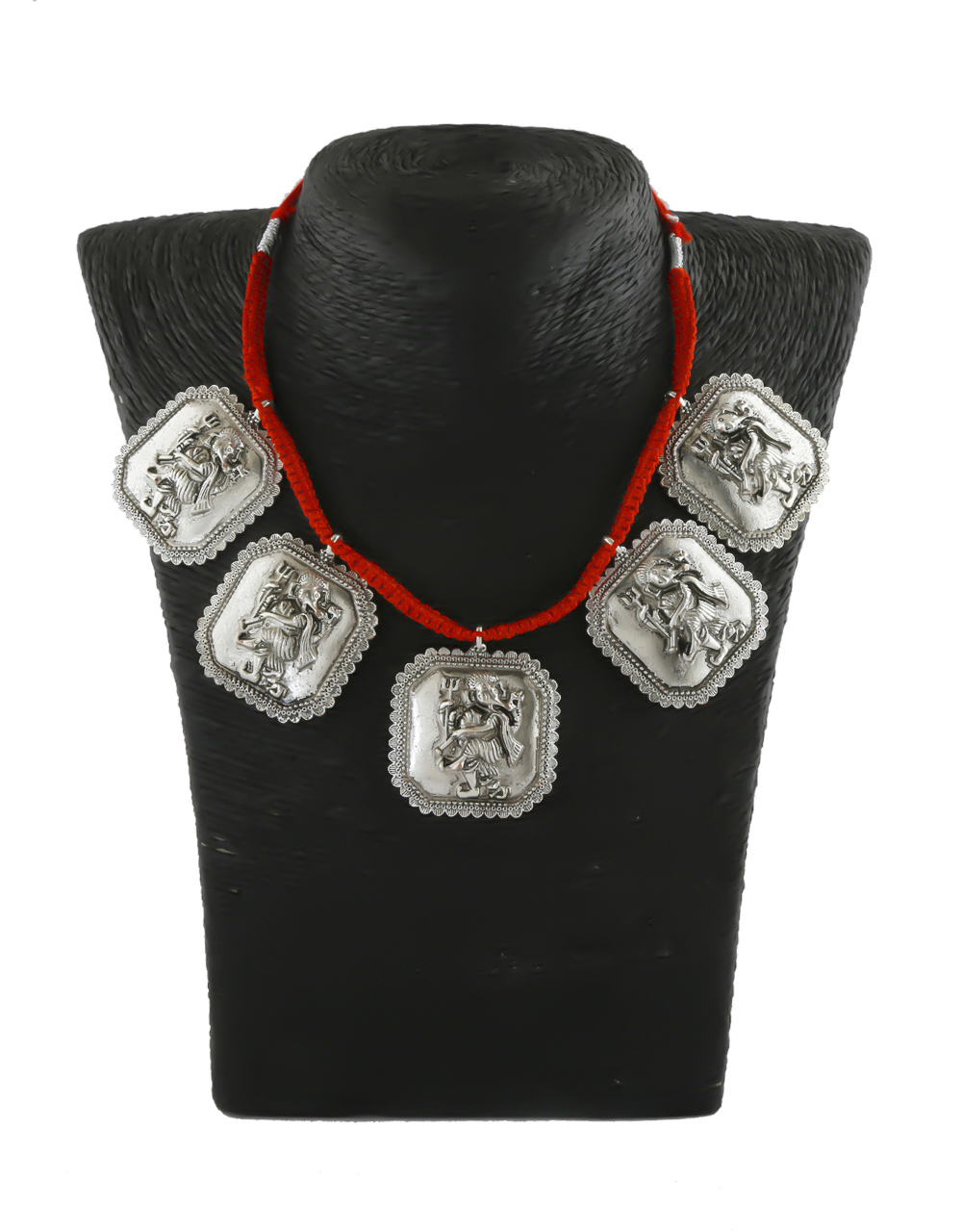 Red Colour Silver Oxidized Finish Necklace Jewellery For Girls