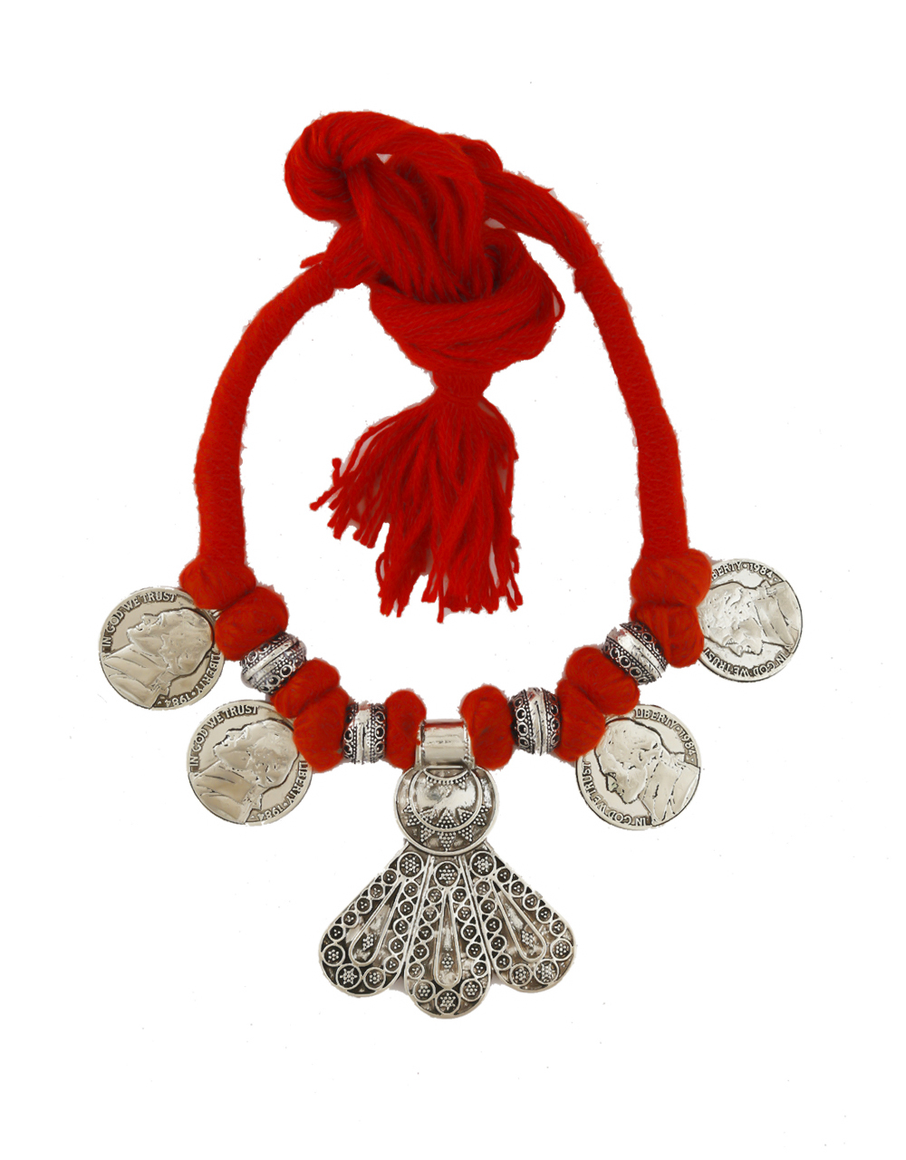 Red Colour Silver Oxidised Finish Thread Oxidised Necklace