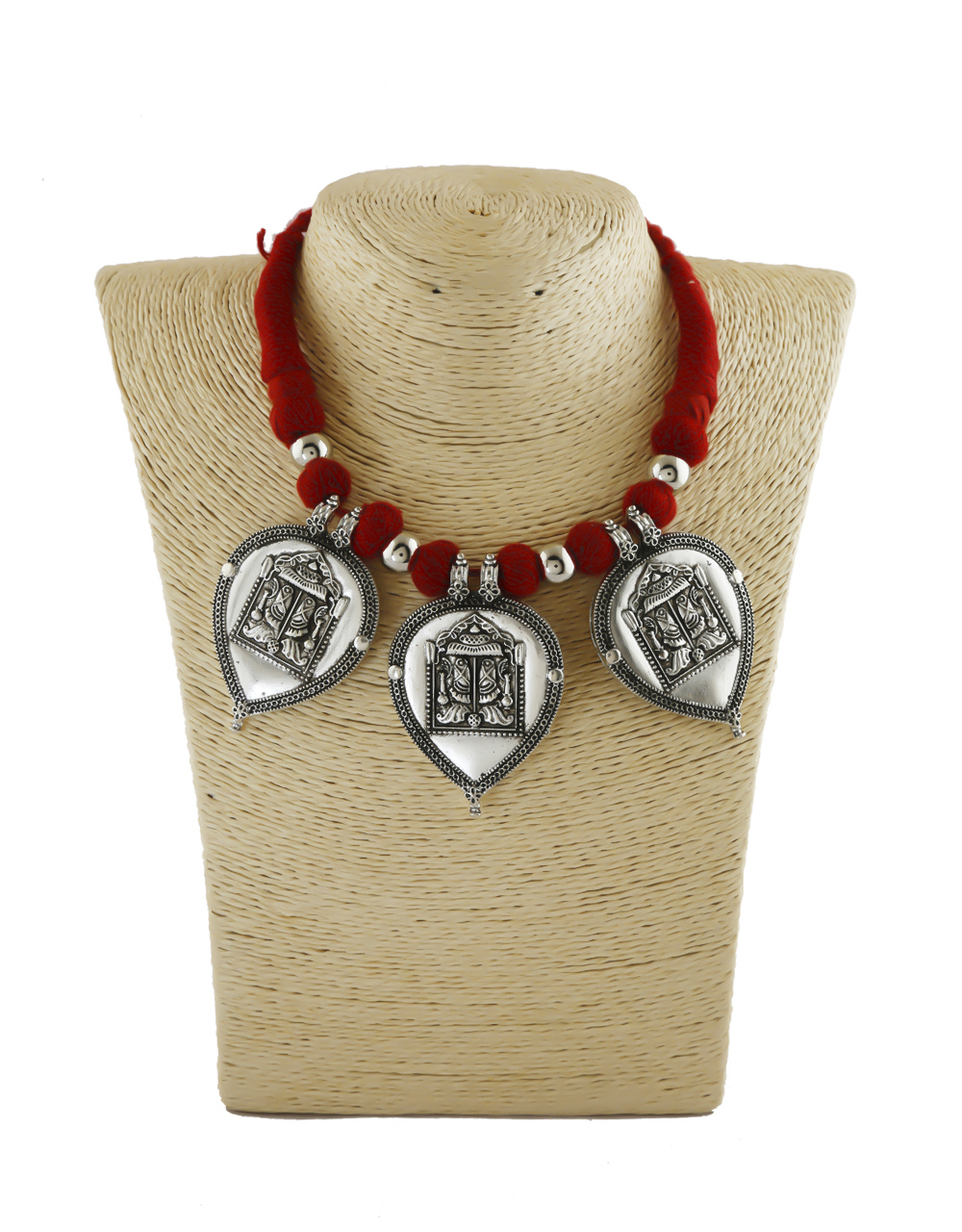 Red Colour Fancy Thread Oxidized Necklace Jewellery