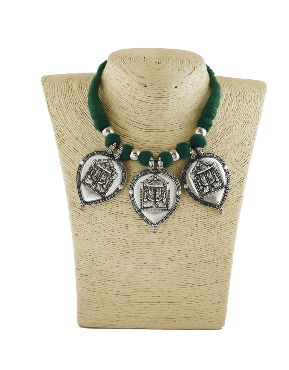 Green Colour Fancy Oxidized Silver Finish Necklace Jewellery