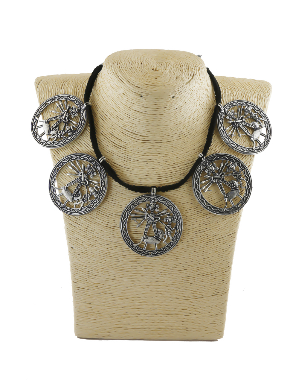 Antique Silver Oxidised Finish Fancy Navratri Necklace