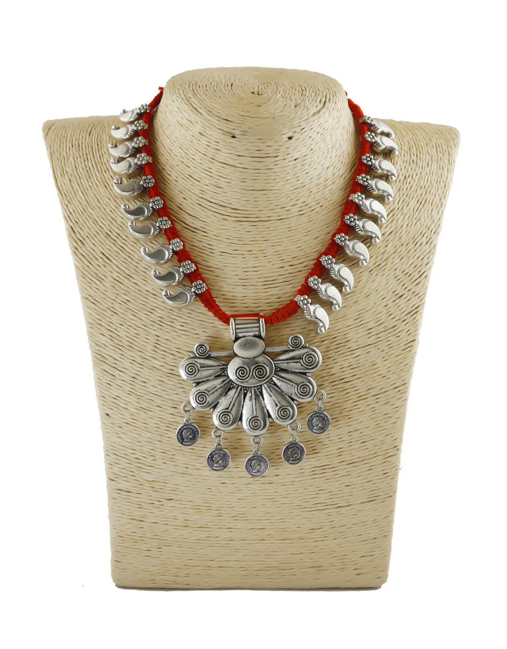 Red Colour Silver Finish Thread Navratri Jewellery