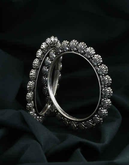 Silver Finish Bangles Trendy Wear For Fancy Wear