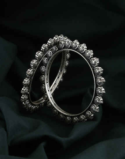 Unique Design Oxidised Silver Tone Kada Bangles For Women