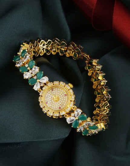 Green Colour Gold Finish Stunning American Diamond Watch