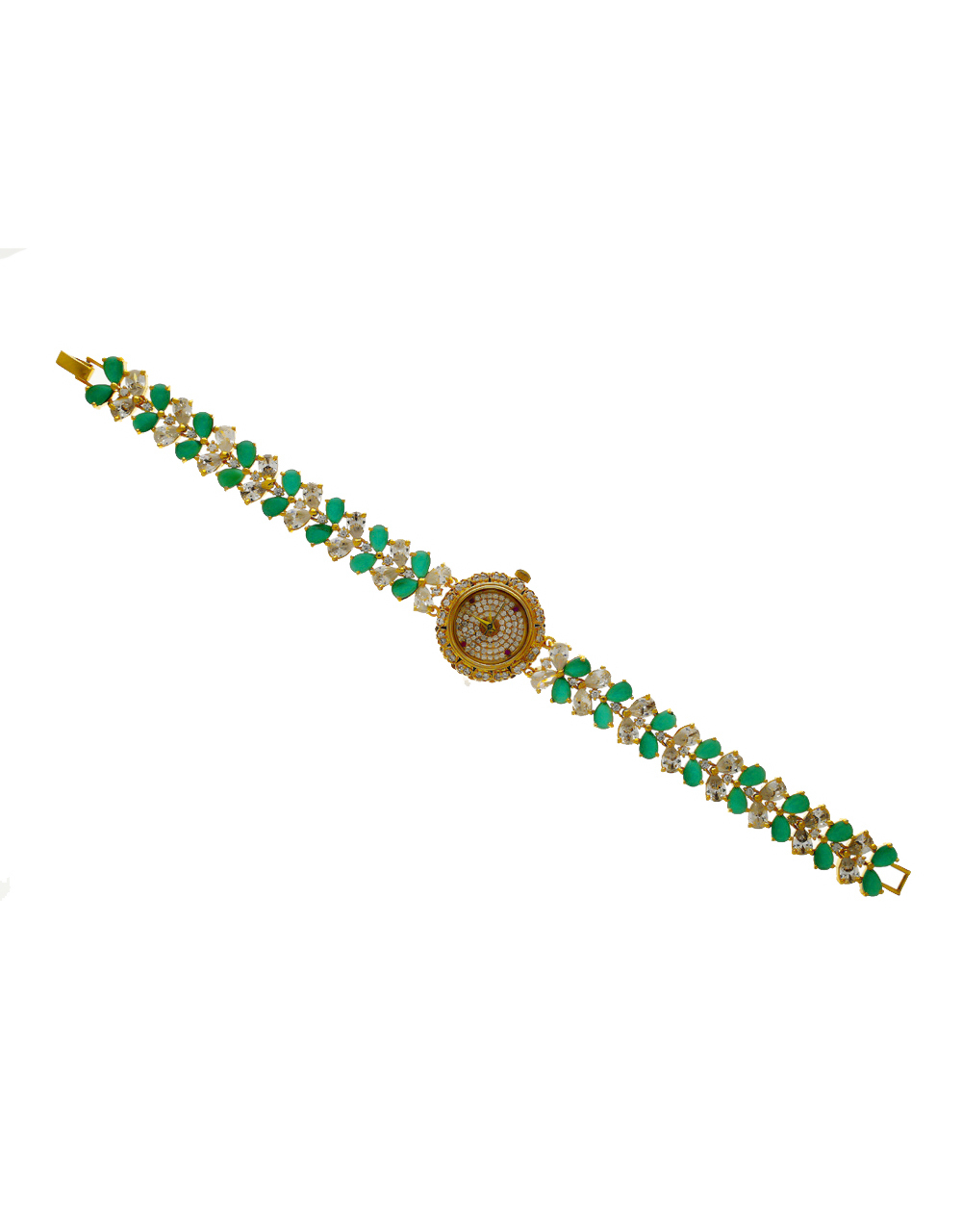 Green Colour Gold Finish Stunning American Diamond Watch