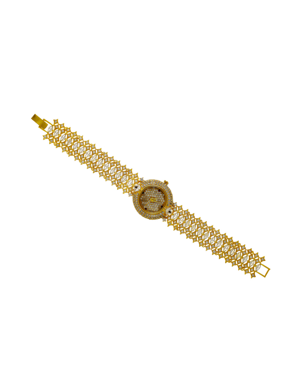 Fashionable Gold Finish American Diamond Watch For Girls Trendy