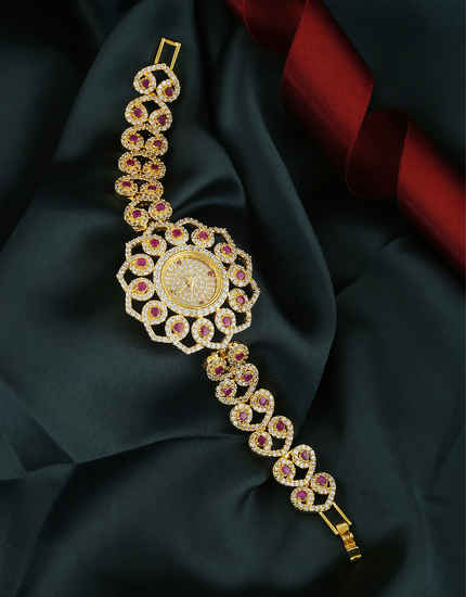 Pink Colour Floral Design Fancy American Diamond Watch