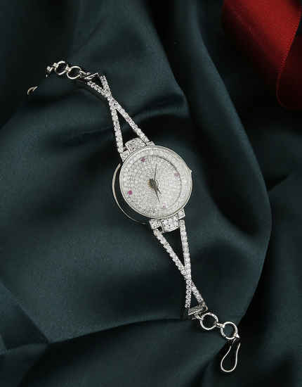 Designer Silver Finish American Diamond Western Wear Watch For Girls