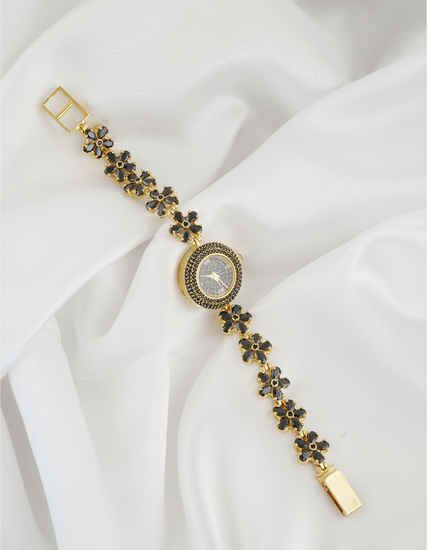 Black Colour Gold Finish Fancy American Diamond Watch For Girls