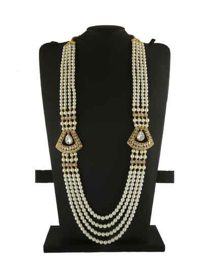 White Colour Designer Gold Finish Moti Dulha Groom Mala