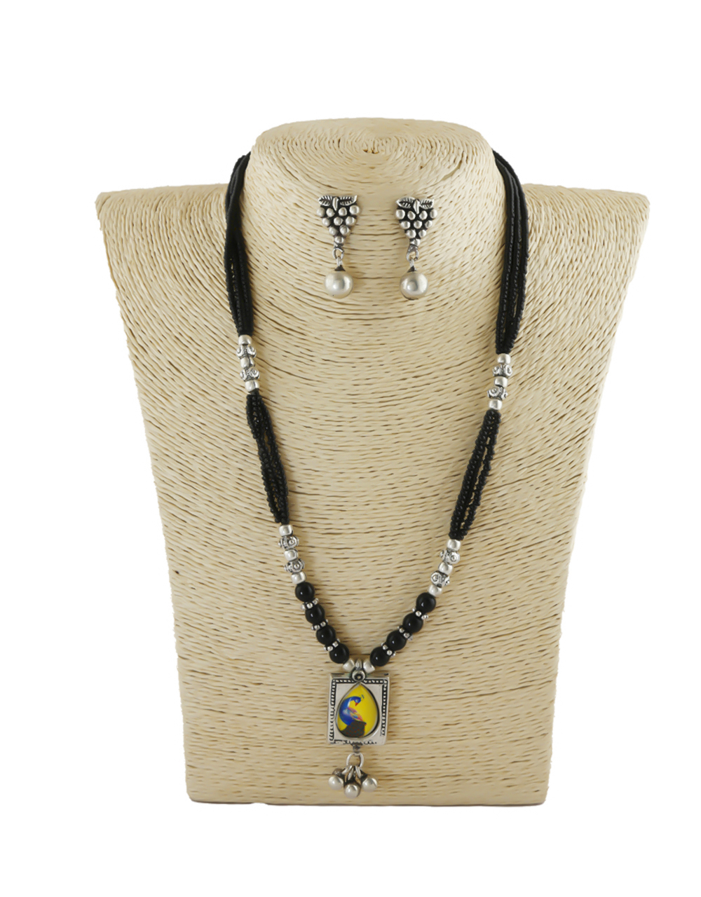Peacock Design Silver Oxidized Finish Trendy Mangalsutra