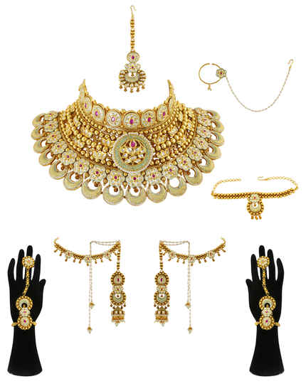 Gold Finish Green Colour Kundan Rajasthani Bridal Jewellery Set For Women