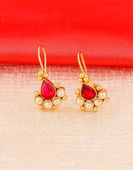 Pink Colour Gold Finish Traditional Maharashtrian Bugadi