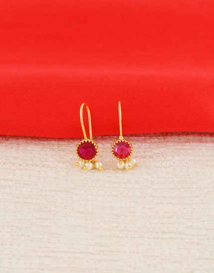 Simple Pink Colour Gold Finish Pearls Styled Bugadi Earrings