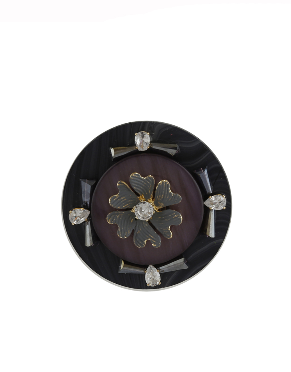 Round Shape Grey Colour Fancy Saree Brooch Pin