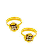 Floral Design Gold Finish Studded With Stones Fancy Toe Ring