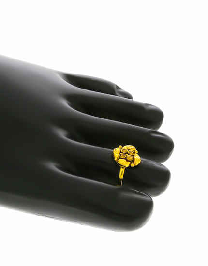 Floral Design Gold Finish Studded With Stones Bichiya Ring