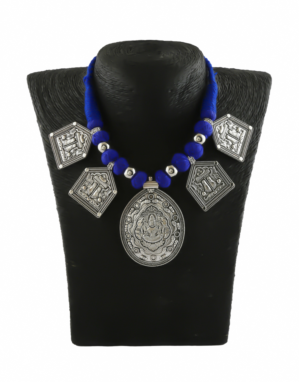 Blue Colour Silver Oxidised Finish Necklace For Weddings