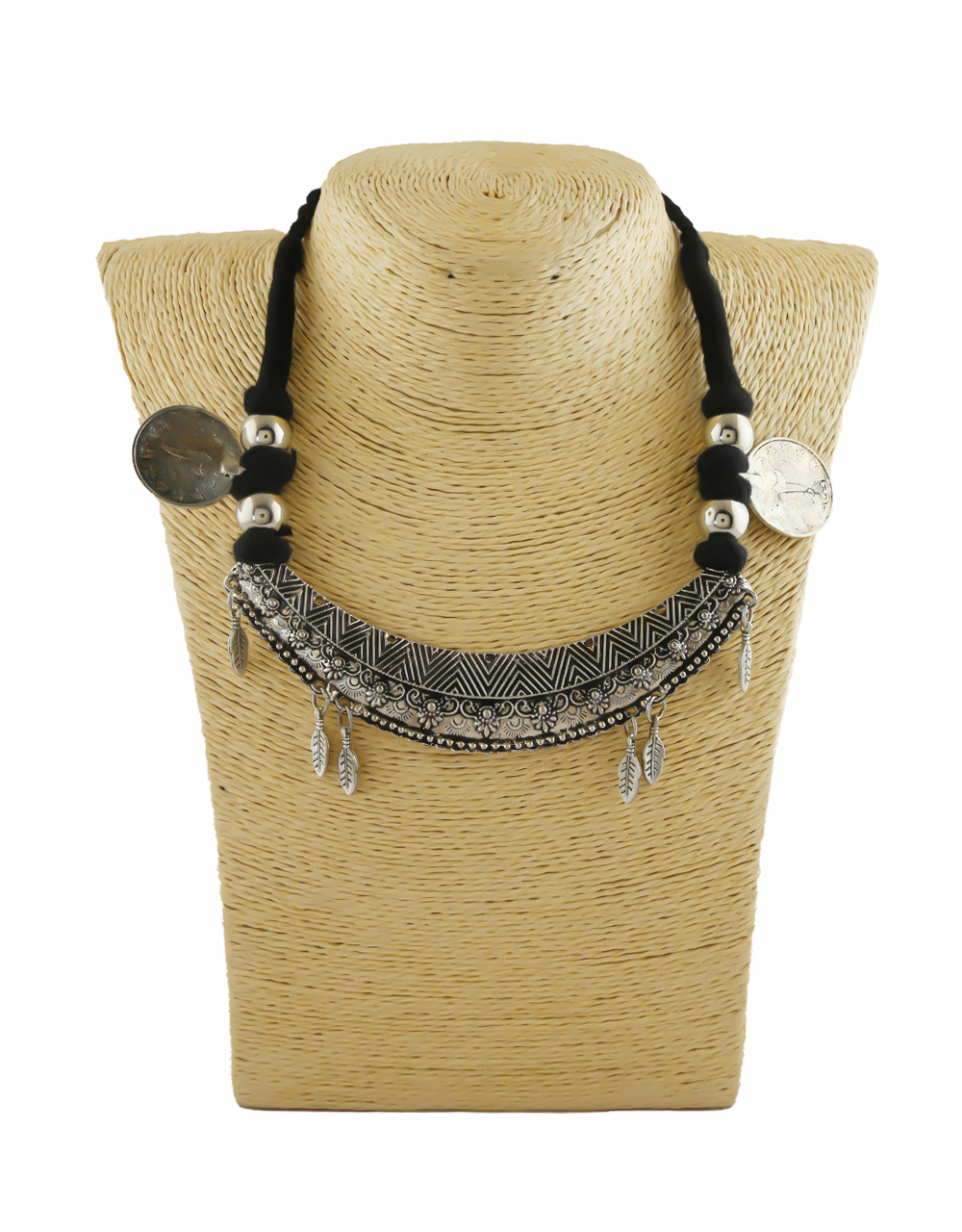 Beautiful Black Colour Silver Oxidized Finish Necklace For Wedding
