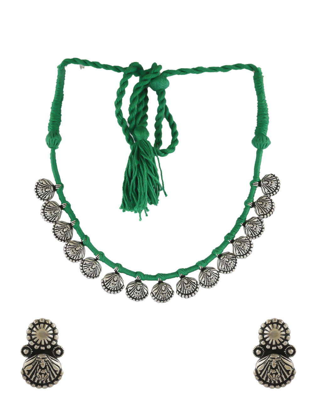 Green Colour Silver Oxidised Finish Necklace For Women