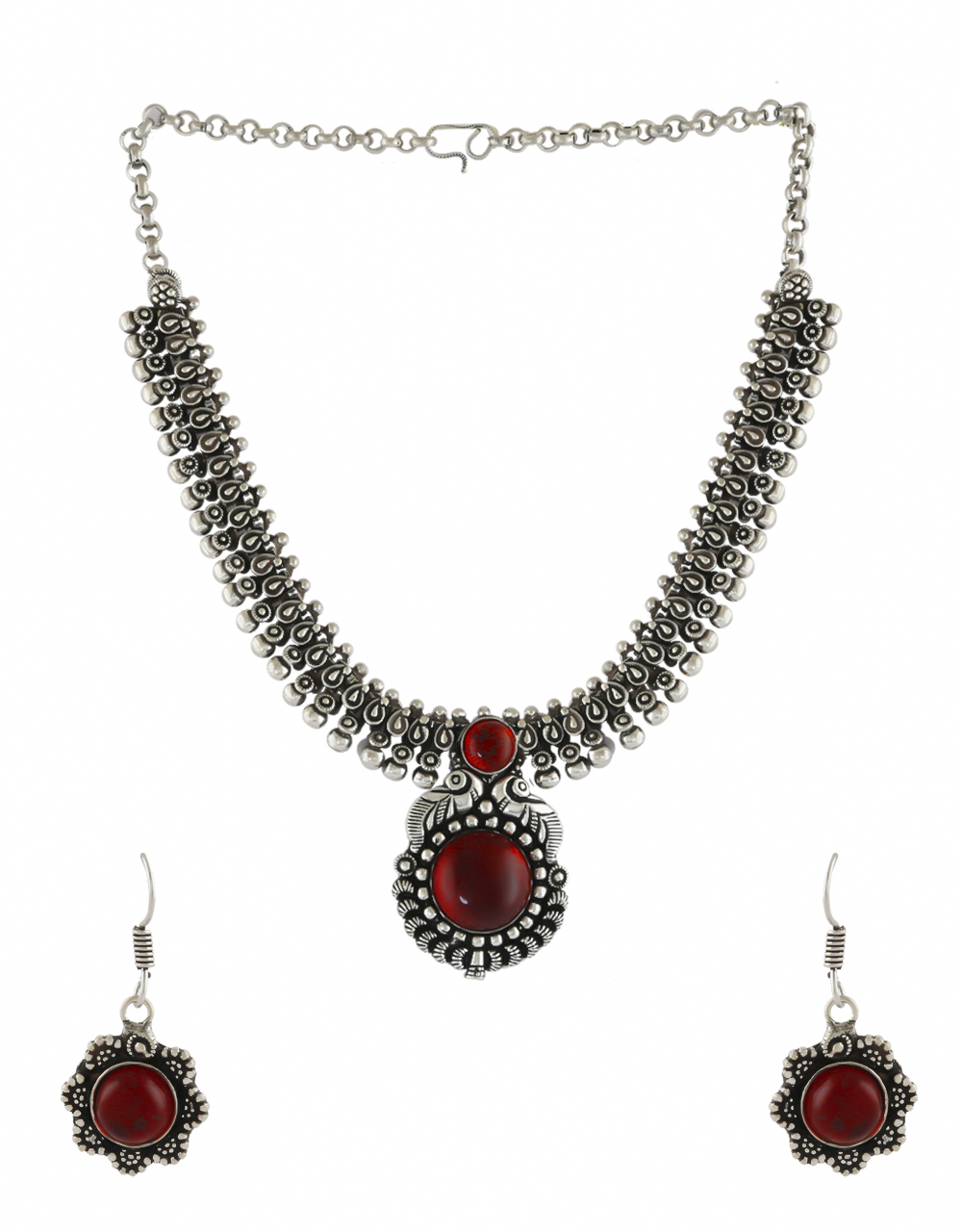 Maroon Colour Fancy Oxidised Finish Necklace For Women