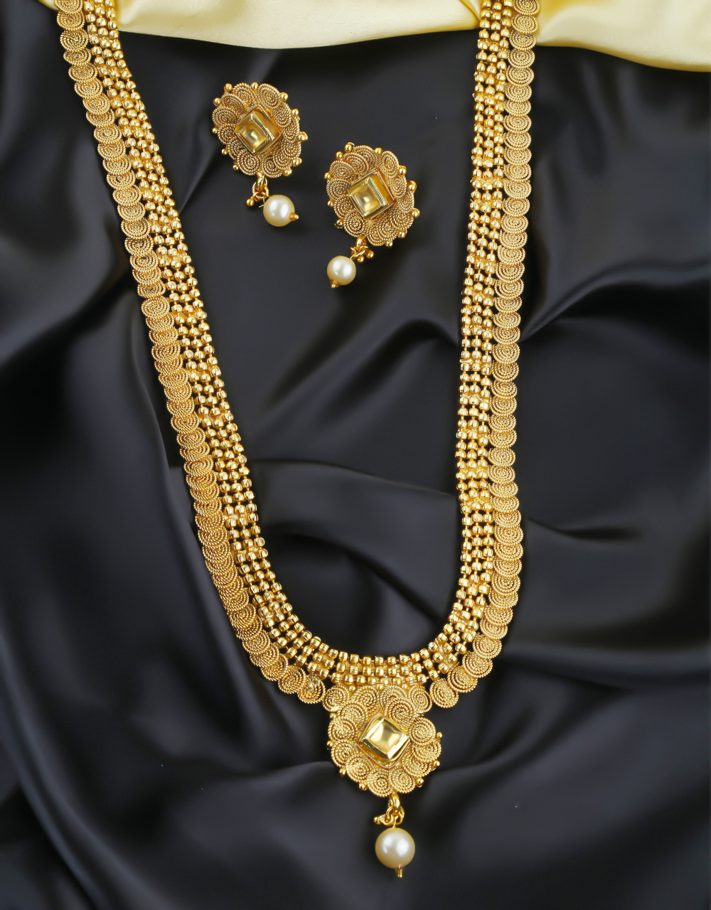 Adorable Gold Finish Traditional Fancy Long Necklace