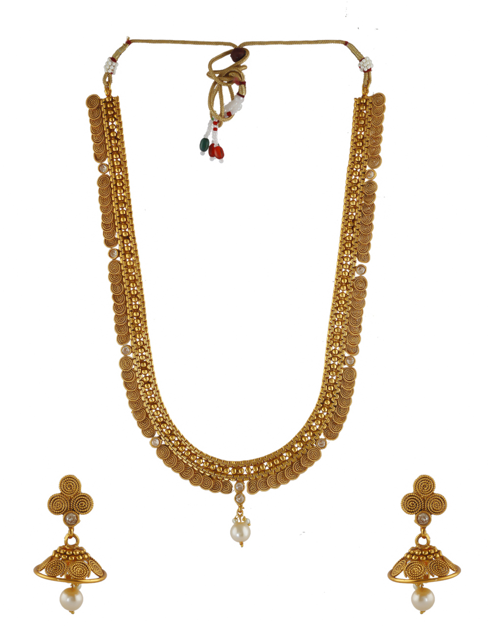 Gold Finish Necklace Studded With Stones Fancy Long Necklace
