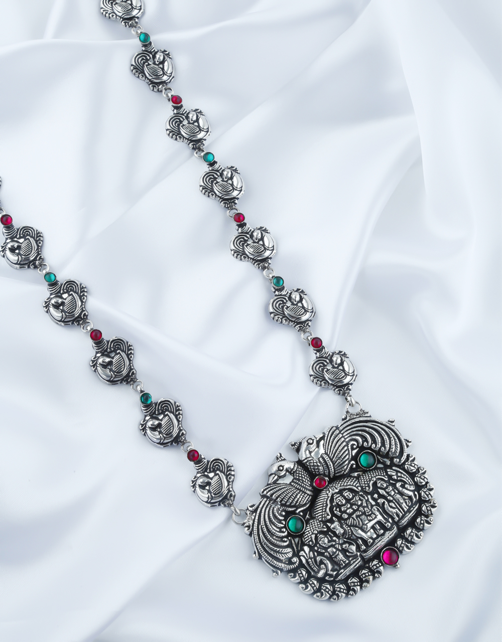 Fancy Multi Colour Silver Oxidised Finish Long Necklace