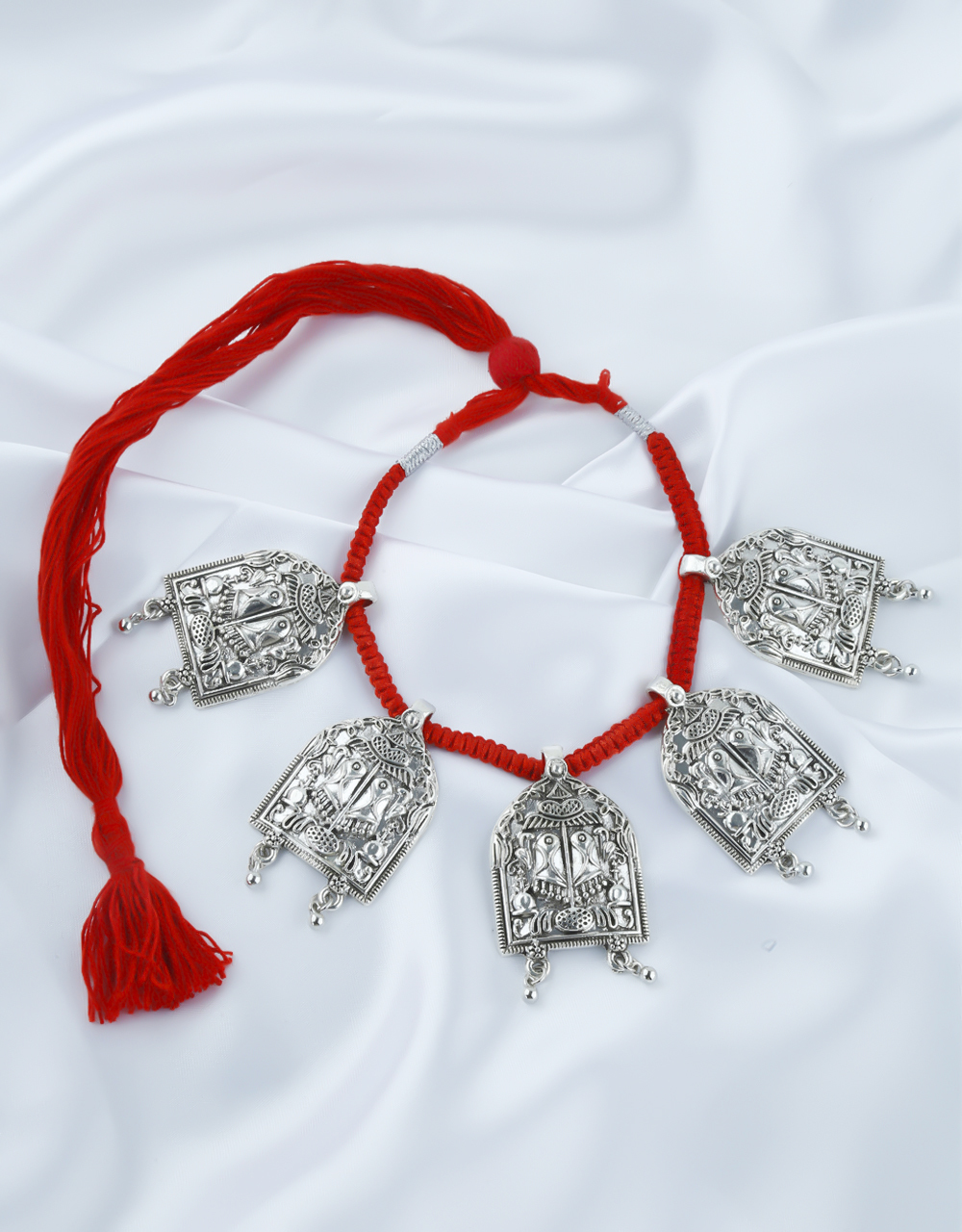 Red Colour Oxidised Finish Short Necklace For Women