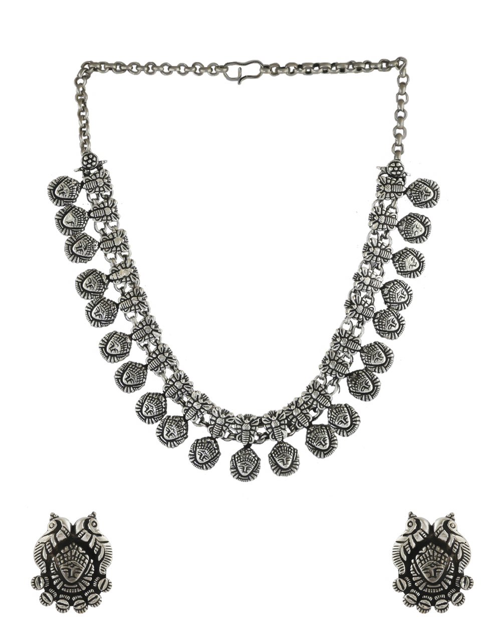 Fancy Oxidised Finish Chain Necklace Jewellery For Girls