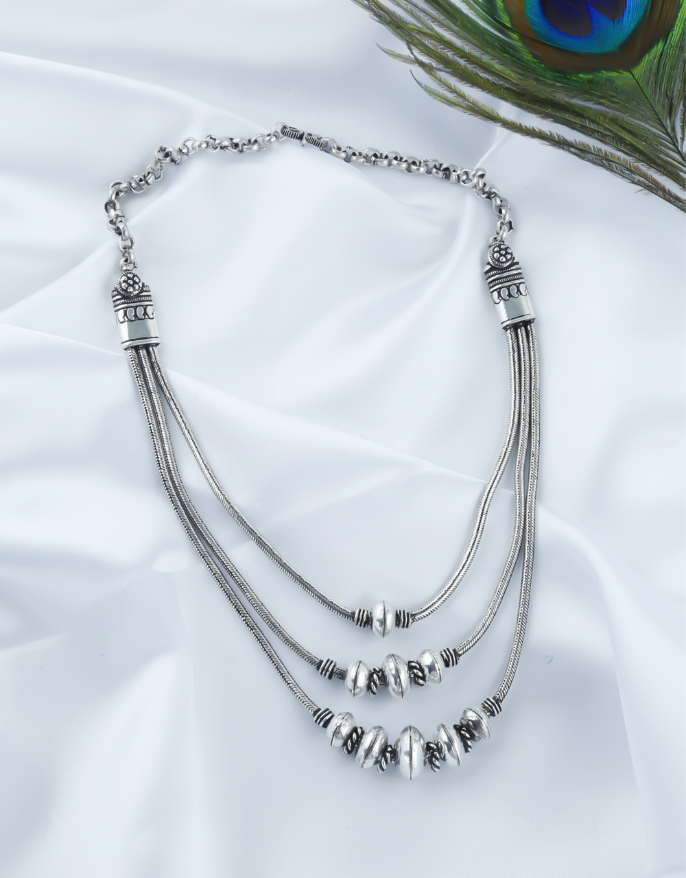 Silver Oxidised Finish Layered Necklace For Girls