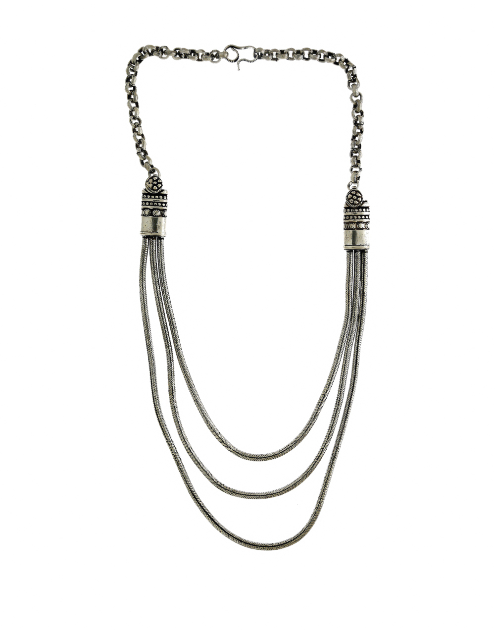 Simple Silver Finish Long Layered Necklace Jewellery