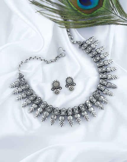 Silver Oxidised Finish Designer Necklace For Women