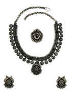 Very Classy Oxidized Finish Short Necklace For Women