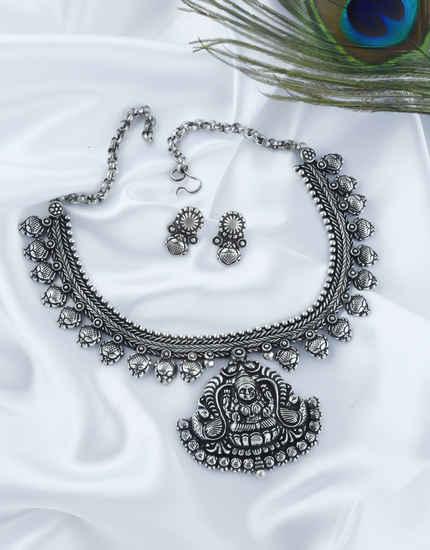 Fancy Oxidized Finish Necklace Jewellery For Girls