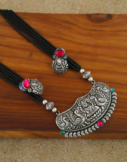 Fancy Silver Oxidised Finish Long Mangalsutra For Women