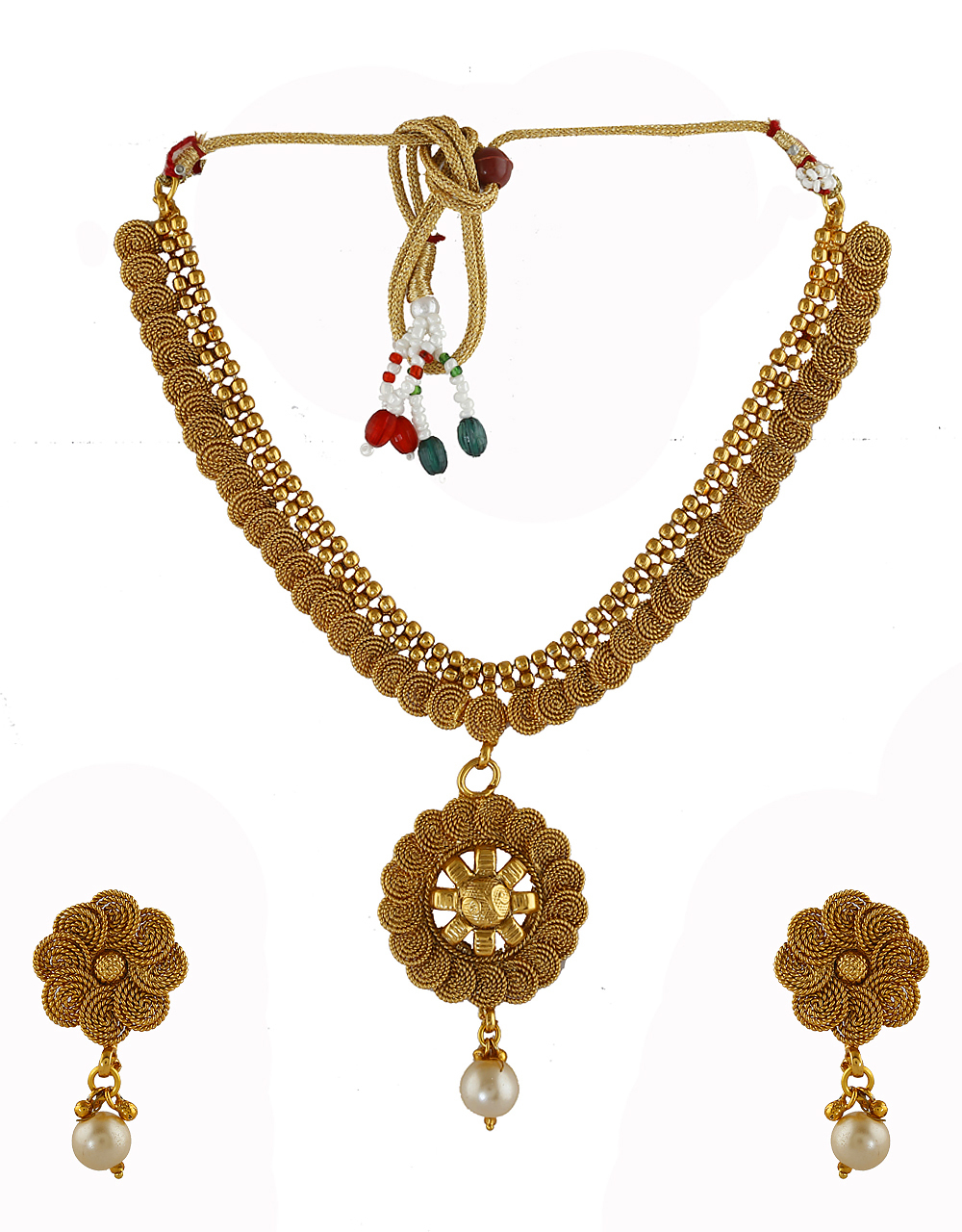 Fashionable Gold Finish Traditional Necklace For Wedding