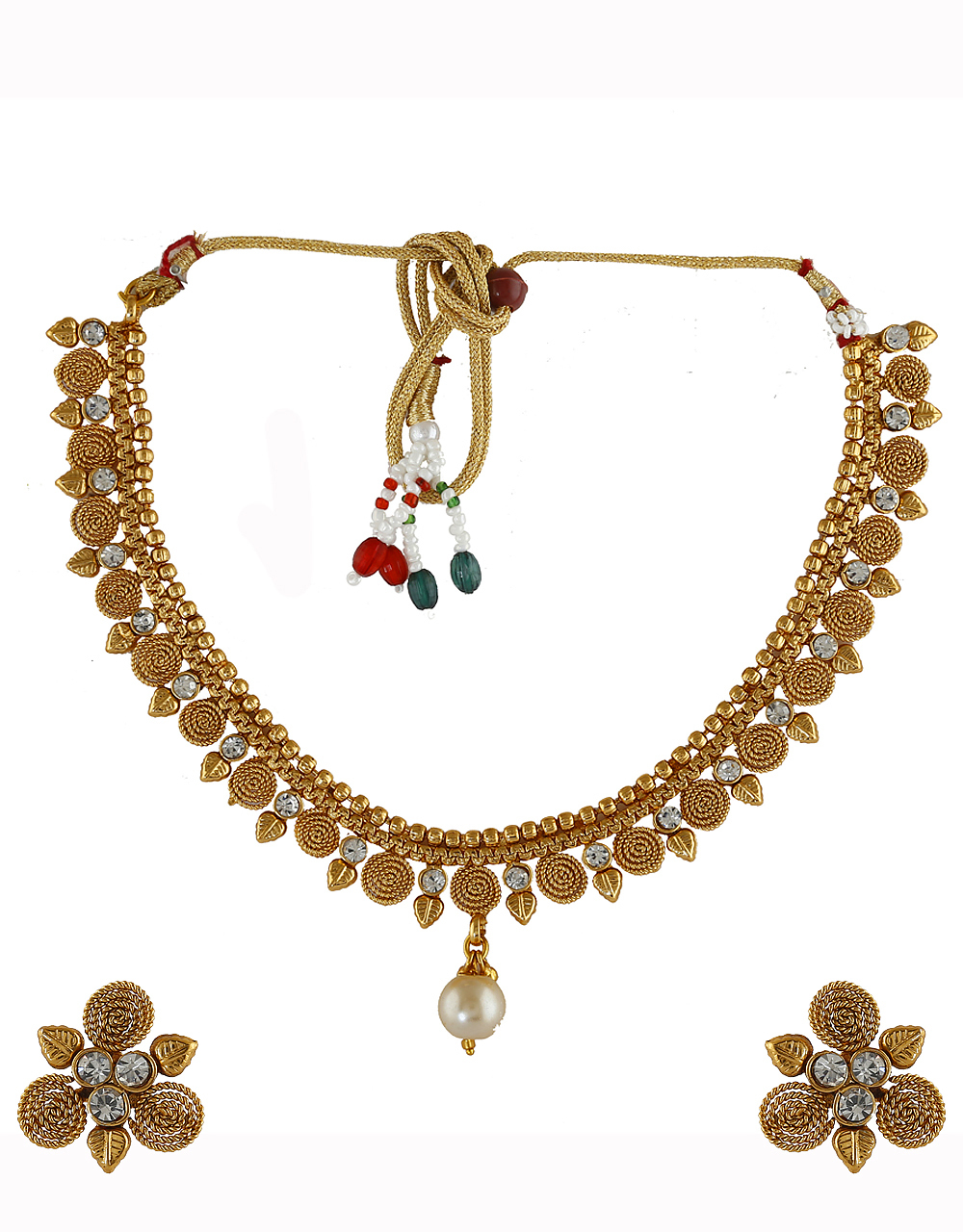Gold Finish Studded With Stones Fancy Traditional Necklace