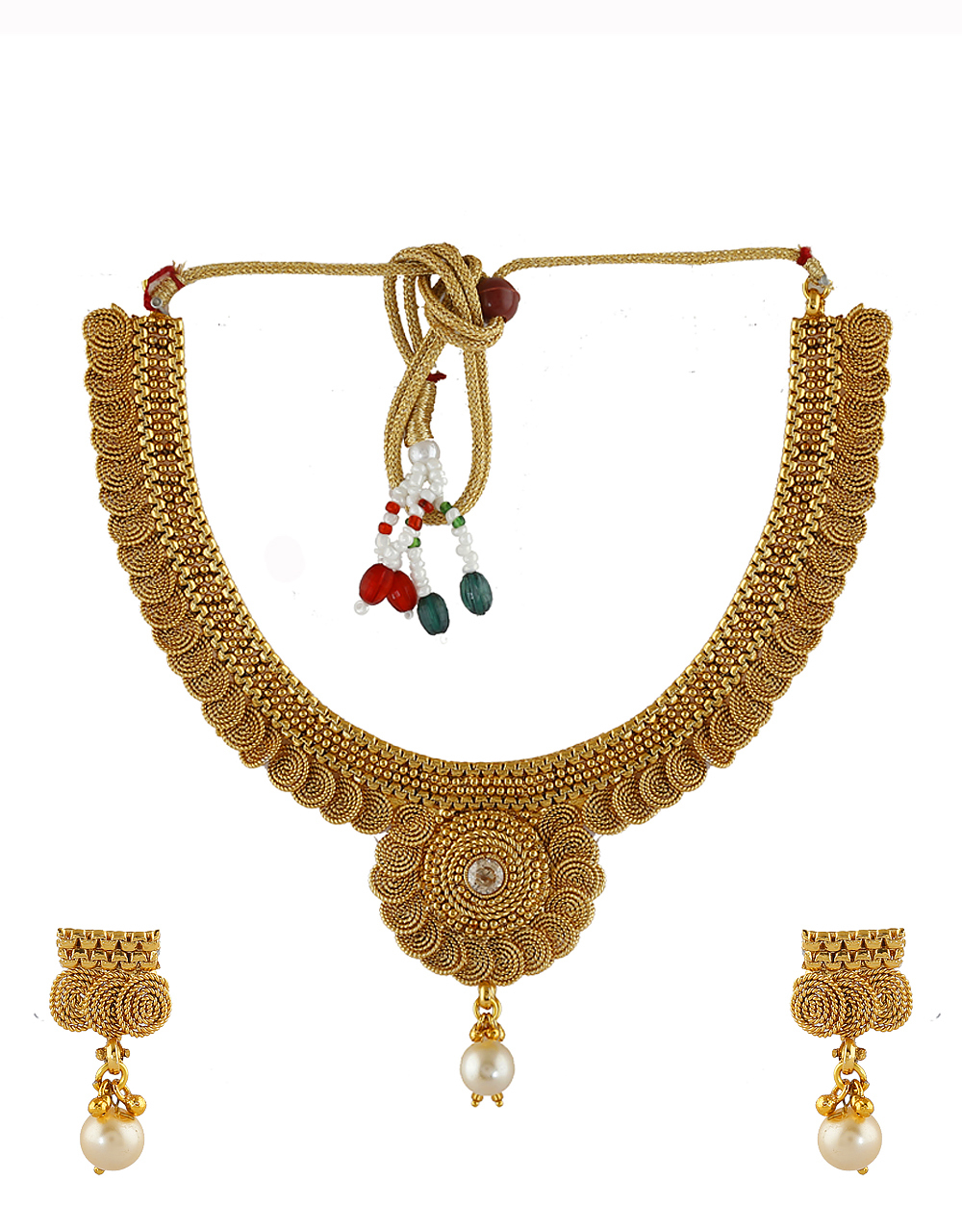 Fancy Gold Finish Traditional Necklace For Women Fancy Wear