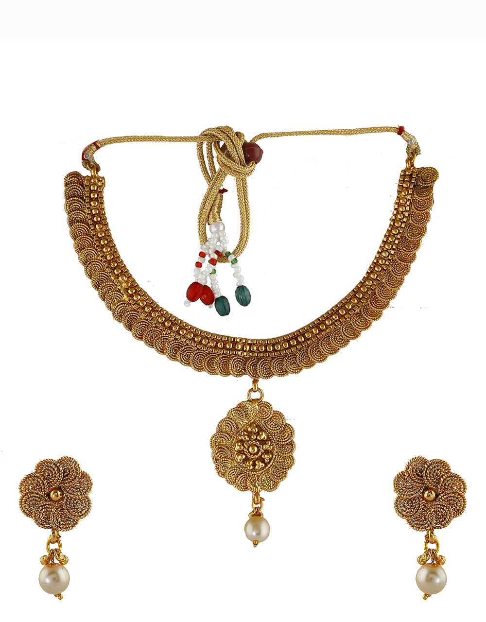 Fancy Gold Finish Traditional Necklace For Wedding Fancy Wear